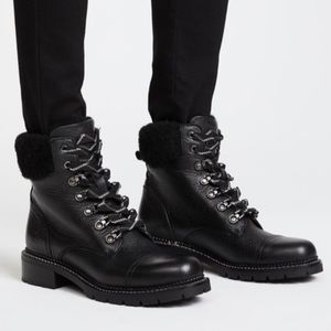 Frye Samantha Leather Lace Up Hiker Boots Booties
